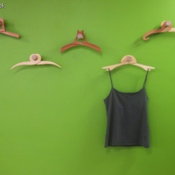 Crissy Cook has derived inspiration for  this series of clothing hangers  from the snotty gobbler, a parasitic vine that is native to Kangaroo Island in Australia. Each one will clamp around anything!