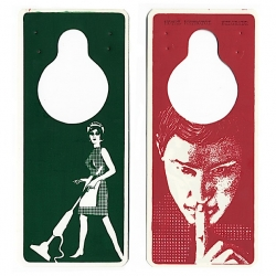 A wonderful collection of hotel door hangers from around the world.