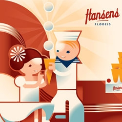 Great ice cream packing from Danish, family run, Hansens Flødeis. The profile, somewhat based on PR-material from 1922, was created by Hansens Flødeis together with Danish designer Mads Berg.