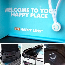 Spy Optic Happy Lens Sunglasses ~ a close up look at the details (and science) of the new Fold, matte blue Helm, and premium Crosstown Haight. Love the tiny happy face and packaging details too!