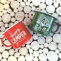 Happy Camper! The great Camp Brand Goods graphic slogan is now on an enamel mug. Just added to their online store! (finally!)