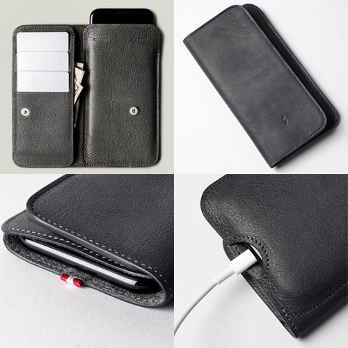 Hardgraft Phone Card Card Combo (in dusty black and classic brown leather) a temping, sleek combo of phone case and wallet.