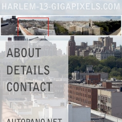 harlem-13-gigapixels.com/ the largest known stitched panorama. By Gerard Maynard.2045 stitched photos representing the neighborhood from a rooftop at 7th Avenue and 110th Street.