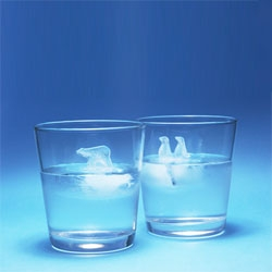 Polar Ice by Atsuhiro Hayashi. Beautiful polar bear and penguins on icebergs for your glass.