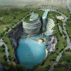 Atkins has won an international competition to design a five-star resort hotel set within a beautiful 100 meter deep quarry in the Songjiang district close to Shanghai in China.