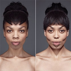 Symmetrical photographic portraits of Julian Wolkenstein made ​​playing with the symmetry of the face. The portrait is divided into 2 parts, and then applied to the 2, a mirror effect.
