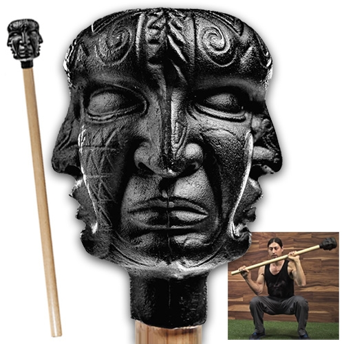 Onnit Quad Mace - 25lbs of perfectly balanced hand-sculpted cast iron and bronze head mounted on a slip resistant ash wood handle inspired by the artwork of Alex Grey. Stunning piece of fitness equipment.