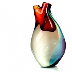 don't break my heart! the ventricle vase is made of glass and evokes the many colors of the human spirit.