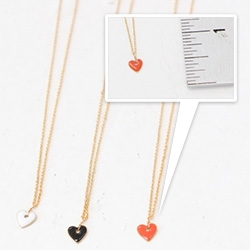 French Enameled Heart Pendant - Made in Paris. Gold plated. In coral red, white or black, enameled tiny heart.