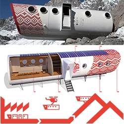 Leap Factory's prefabricated building system, ideal for the construction of new alpine accommodation structures. These cylindrical structures are manufactured offsite and helicoptered in to the final site.