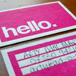 howdoos - hand letter-pressed business cards with a greeting on the front and space on the back to personalise. 2 designs available; 'hello' in hot pink and 'nice to meet you' in black. from delicious industries.