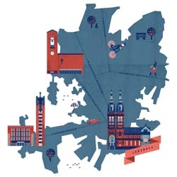 Lotta Nieminen illustrates a few Helsinki neighborhood maps for the Parish Union of Helsinki.