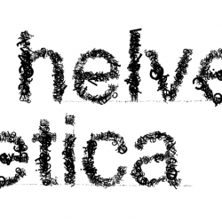 "Helvetica + Nirvana. ""helvetica"" spelled out with a bunch of letters with the typeface... you guessed it, Helvetica"