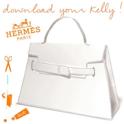Hermes jumps into the DIY Paper Craft world with their pdf of the classic Kelly bag - simply print, cut, glue, and you have your own!
