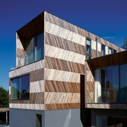 Herringbone Houses, by Allison Brooks Architects. Two houses in South London, that get their name after their cladding.