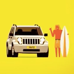 "Love the animations of these new Hertz Rental Car ""Traveling at the speed of Hertz"" advertisements"
