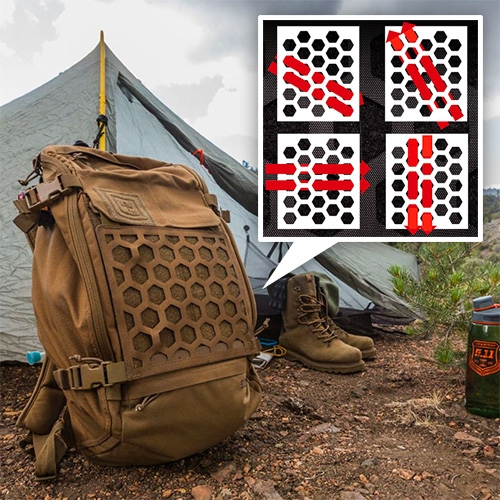 5.11 Tactical AMP Backpacks feature a unique Hexgrid system that allows you to mount accessories at a variety of angles. Visually - it's a fun twist on the usual molle webbing.