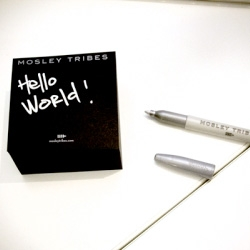 MOSLEY TRIBES is now creating interesting consumer stationary products ( The reinterpretation of a timeless classic).  Mosley has created a black post it note pad.  This pad comes with its own metallic silver Sharpie.