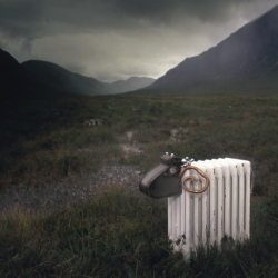 This radiator sheep made by London based Artist Sophie Marsham was shipped up to the highlands of Scotland ... for photographs!