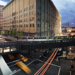 For this panoramic view of NYC's Highline (shot for New York Magazine), Stephen Wilkes set up a rotating camera on a cherry picker at Tenth Avenue and shot throughout one day, from noon till 9 p.m.