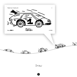 The Single Lane Superhighway by Aaron Koblin lets you draw your own car and add it to the front lines. Beautifully simple!