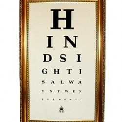 'Hindsight is always twenty twenty', nifty message these little screen prints, inspired by vintage eye chart designs.