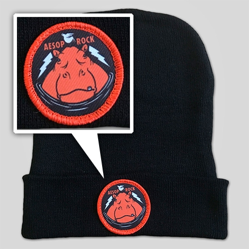 Aesop Rock Hippo Beanie with illustration from Jeremy Fish at Upper Playground!