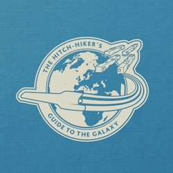 A hardback book student re-design of Douglas Adams classic sci-fi series The Hitch-Hiker's Guide to the Galaxy
