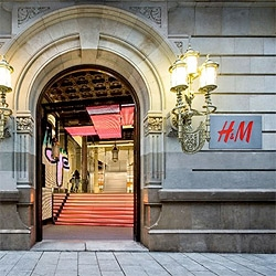 The new H&M flagship store in Barcelona, by Estudio Mariscal. The studio designed every aspect: architecture, lighting, custom furniture, graphic design and even the shopping bags.