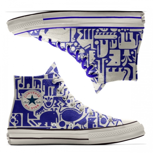 Converse Custom x Grotesk Chuck '70 High Tops. Super fun characters in blue on white and white on blue.