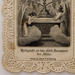 Intricately die-cut 1890s prayer cards. Dating from the 1890s to 1910s, the cards were produced by Verlag Von Serz & Co. in Nürnberg (Nuremberg), Germany.