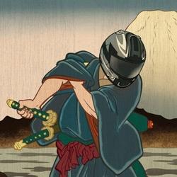 Fake Edo era woodcuts advertizing Honda helmets
