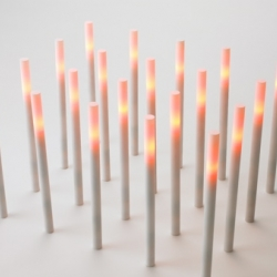 the Hono light by Japanese brand Metaphys is ignited by touching it with a magnetic match and extinguished by blowing on it. The LED light source even flickers like a real candle.