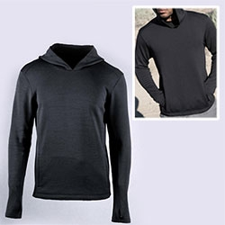 Triple Aught Design Flux Hoodie - far more comfortable and sleek than expected. Abrasion resistant nylon shell on the outside, unexpected merino wool inside - thumbholes, kangaroo pocket, and super flattering hood.