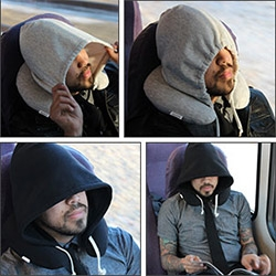 The Travel Hoodie Pillow ~ all the neck support and some hoodie privacy too