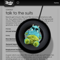 Awesome Hooky Monster on the Hooky Interactive site - and it has quite a mouth on it.