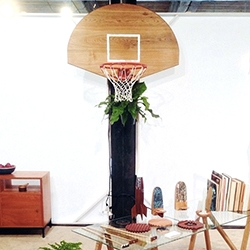 Pat Kim's basketball hoop is white oak with mother of pearl inlay - seen at NYC Design Week 2014 - Sight Unseen's Offsite.