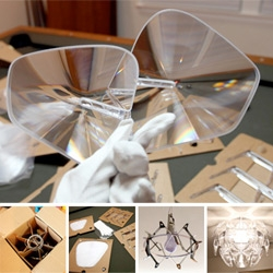 Luceplan Hope lamp up close ~ Fascinating to see the packaging and process of putting together this iconic light!