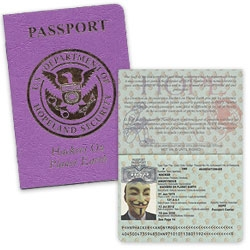 Laughing Squid shares his Hackers on Planet Earth Passport at HOPE Number Nine Passport issued by the U.S. Department of Hopeland Security.