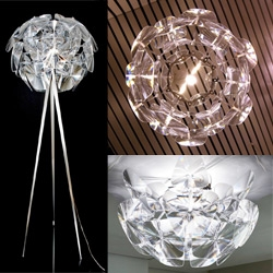 Luce Plan's Hope lamp family grows... and they are all stunning ~ incredible to get to see them all in the same room and up close! And from below!