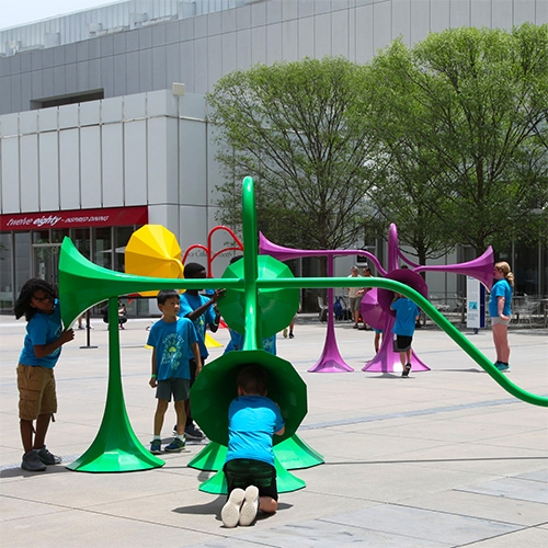 Yuri Suzuki's Sonic Playground at the High Museum of Art. It includes 6 interactive sound sculptures that manipulate sound depending on where you are standing, listening or speaking.