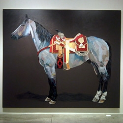 "Beautiful nearly life sized Horse oil paintings (that are more abstract up close than you'd expect!) ~ Arróniz Arte Contemporáneo in La Roma, Mexico City ~ Omar Rodriguez-Graham - solo show ""Variaciones Sobre un Tema"""