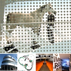 The Mercedes-Benz Museum ~ a look at the amazing images the surreal juxtapositions of materials and unexpected curves in the architecture create! And the horse... an early predecessor to the automobile?