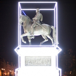 On Pont Neuf, Paris, Henry the IV has been resurrected by Jean-Charles de Castelbajac with a blue Lightsaber and white neon box. Astronomy Domine commemorates 400 years since Henri IV's death. It will remain up until July 14th.