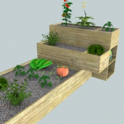 A vegetable garden concept for a roof or a patio.
