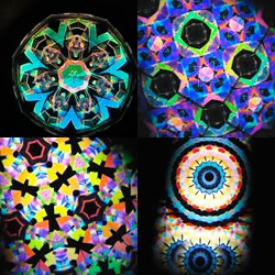 Sleek aluminum kaleidoscopes by Japanese artist Tomoo Hosono. Inside are non-colored pieces which produce saturated patterns of changing color through the scientific phenomenon known as birefringence. (Japanese text)
