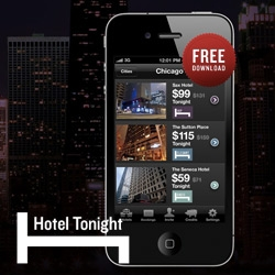 Hotel Tonight App for iPhone ~ exclusive last second pricing on hotels in NY, SF, LA, and Chicago