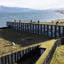 Remota Hotel in chilean Patagonia, by  German del Sol. Located on an amazing landscape, it blends with its surroundings through its materials and the green roof.