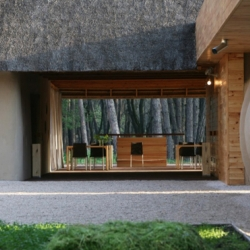 The FriendHouse Hotel on the Orel River in Ukraine is eco friendly and blends organic forms with clean design. By Yuriy Ryntovt, Aleksey Bojko, and Alan Kravchenko.