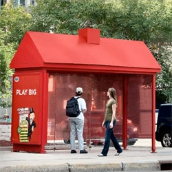 "The Minnesota State Lottery is promoting their new Monopoly scratch tickets. Bus Shelters throughout Minneapolis showcase 15 eye-catching Shelters converted into red Monopoly piece ""hotels"" to remind consumers to play to win big! By Cole McEvoy"